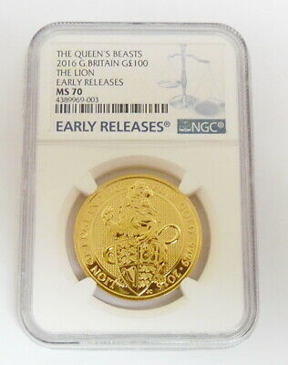 2016 Queen's Beast The Lion 1 oz Gold Coin NGC MS70 Early Release ~ Free Ship