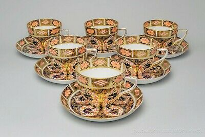 Set of Six 19th C. Royal Crown Derby 1126/1128 Imari Tea Cups and Saucers C.1887