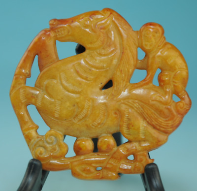 Collect china old jade Handwork monkey horse Statue antique amulet pendant 0233
