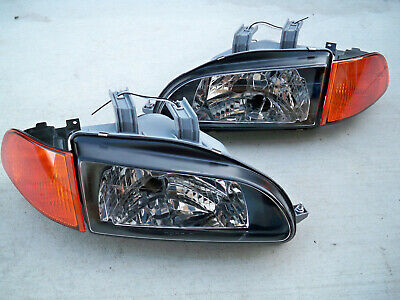 For Honda Civic EG EJ JDM Black Headlights Orange Amber Corners + SiR City Light