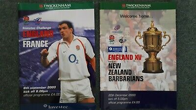 England Rugby Union 2003 2 x match programmes v France & NZ Barbarians
