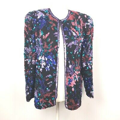 Nite Line Vintage Women's Multi-color Sequin Silk Jacket size Med