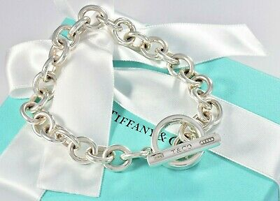 """Tiffany & Co Sterling Silver 1837 Wide Toggle Chain 8.5"""" Bracelet +Pouch RARE"""