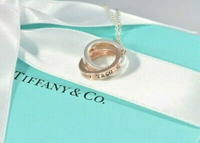 Tiffany & Co Silver Rubedo Gold Metal 1837 Interlocking Circles Necklace BOXED