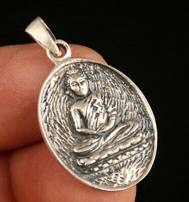 Chinese Pure Silver Hand-Carved Buddha Statue Pendant Spiritual Gift Collection