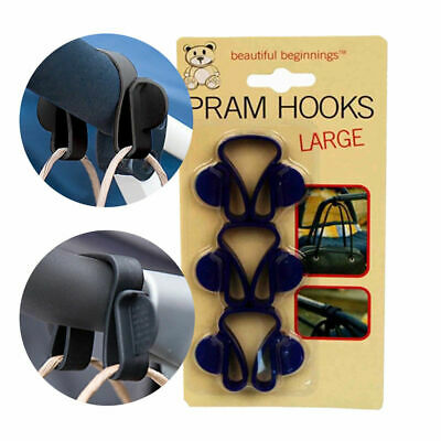 3 Pram Hooks Stroller Pushchair Large Hooks Clips Carrier Bag Holders shopping