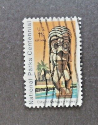US Air Mail Stamp Scott # C-84 11c Kii Statue National Parks, Used Off Paper