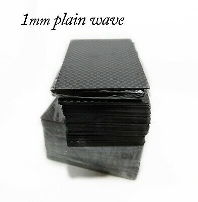 1mm Thick 100% 3k Carbon Fiber Blank Business card Size Plain Wave 100 Lot