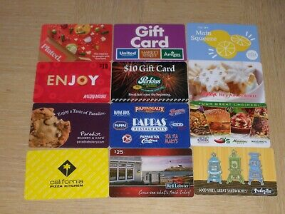 Restaurants   12 different new and used collectible gift cards