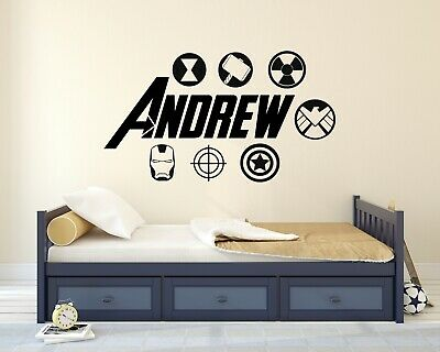 Custom Avengers Name Wall Decal Cartoon Super Hero Kids Art Mural Sticker
