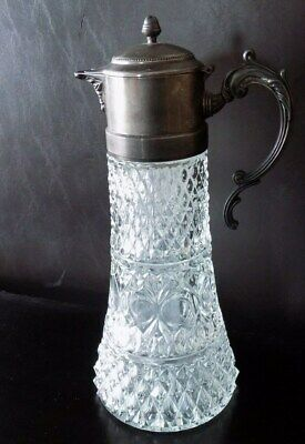 Vintage Sheraton Wine Claret Pitcher w/ Silver Plate Top & Handle