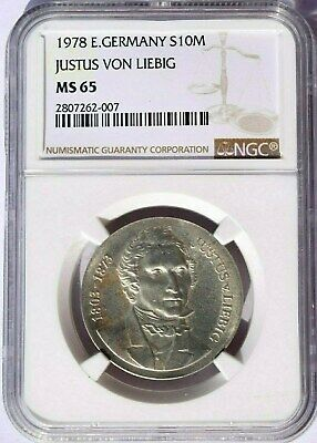 1978 East Germany 10 Marks, NGC MS 65, KM-69, Julius Von Liebig