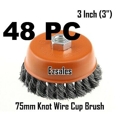 "48 Twist Knot Wire Cup Brush 3"" (75mm) for 4-1/2"" (115mm) Angle Grinder HOTECHE"