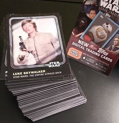 2016 Topps Star Wars Card Trader - Complete Physical Base Set - 100 Cards + *1DP