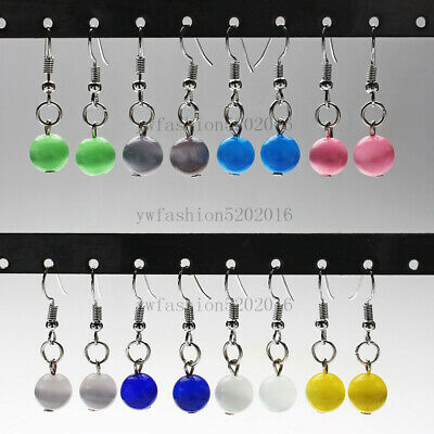 FREE wholesale 6Pair Natural Cat Eye Gemstone stone Bead Silver Plated Earring