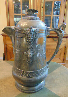 Antique Reed and Barton Silver Plate Tilting Pitcher with Porcelain Insert