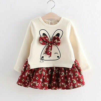 Toddler Kids Baby Girls Cartoon Rabbit Bunny Floral Party Dress Skirt Outfit