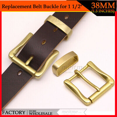 "1 1/2"" Solid Brass Roller Belt Buckle Single Buckle Belt Keeper High Quality Lot"