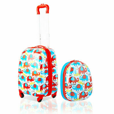 2PC ABS Kids Luggage Set Outdoor Travel 12'' Backpack 16'' Rolling Suitcase Gift