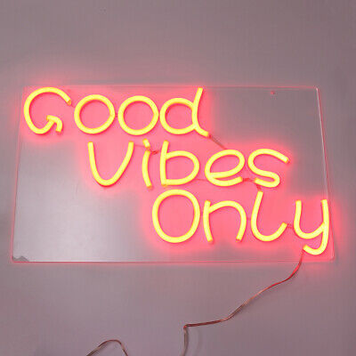 """23""""x13"""" Good Vibes Only Neon Sign Wall Home Decor Party Visual Artwork AU C H"""