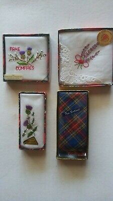 Vintage LADIES handkerchiefs X 4 in a lot...Scotland souvenirs