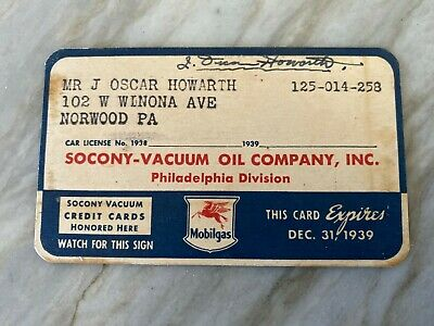 1939 Socony Vacuum Mobilgas Charge Account / Credit Card expired 1939 Gas & Oil