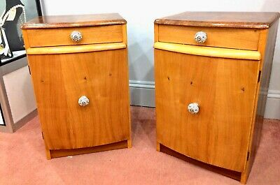 Art Deco Walnut, Maple & Sycamore Veneered Bedside Cabinets, c.1920 - 30