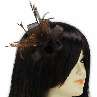 Brown Feather Mesh Flower Fascinator Clip Wedding Prom Ladies New