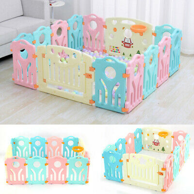 10+2 Large Foldable Plastic Baby Playpen Indoor& Outdoor With Optional Playmats