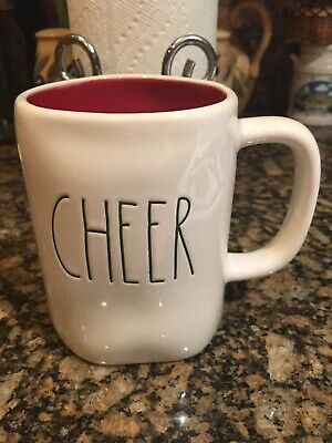 New Rae Dunn Christmas Red Inside CHEER Large Letter LL Coffee Tea Mug