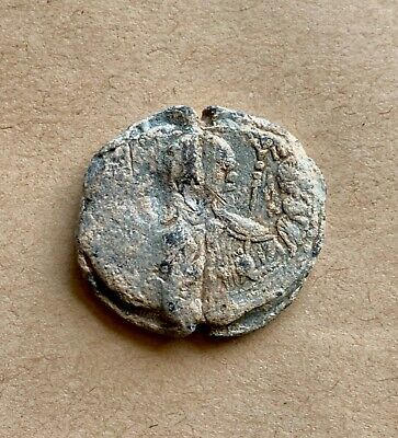 Byzantine lead seal/siegel of Basileios protospatharios and strategos (11th c.).