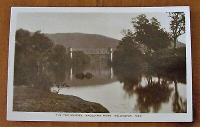 """The Two Bridges , Macquarie River , Wellington"" , Postcard , NPU , C1910"
