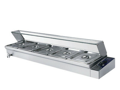 Bain Marie Hot Food Warmer 5x 1/2 GN Wet Well Stainless Steel Catering Container