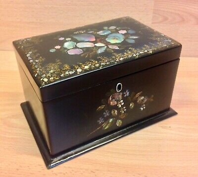 Antique Black Lacquered Mother of Pearl Decorated Two Section Tea Caddy
