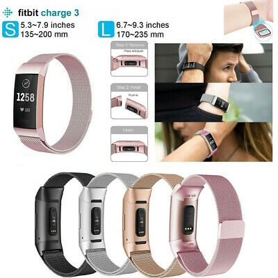 For Fitbit Charge3 Strap Replacement Milanese Band Stainless Steel Magnet Buckle