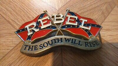 """Vtg """"Rebel The South Will Rise"""" Tanside Brass Belt Buckle America Confederate"""
