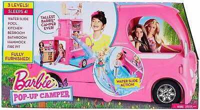 Barbie Pop-Up Camper Van Transforming Vehicle With Accessories UK FREE POST NEW