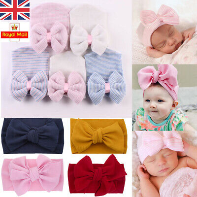 Baby Girl Boy Infant Soft Bow Hat Beanie Cap Vintage Retro Hair Ribbon Headband