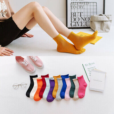 Women Fashion Candy Color Casual Cute Socks Set Autumn Winter Girls Socks Cotton