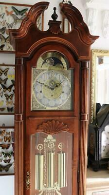 HOWARD MILLER GRANDFATHER longcase CLOCK weight drive, triple chimes, glass case