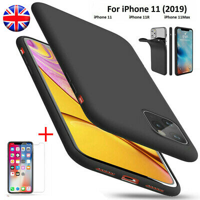 For iPhone 11 XR XS Max Matte Phone Case Cover + Tempered Glass Screen Protector