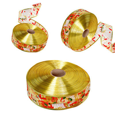 2M/Roll Christmas Bell Ribbon Organza DIY Wreath Cake Craft Gift Wrapping Decor