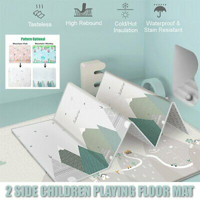 AU 200x180cm Foldable Baby Crawling Thick Play Cover Mat Rug Floor Carpet Game