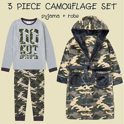 Childrens Boys Shark Pyjama and Dressing Gown Robe Gift Set Jaws Warm 2-13 Years