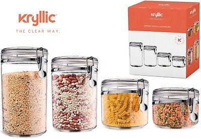 Food Storage Containers Set Of 4 Air Tight Canisters with Lids by Kryllic