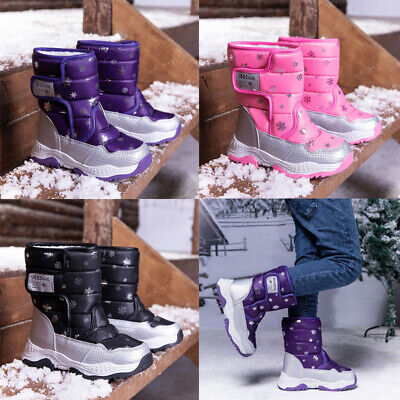 Kids Girls Winter Fur Lined Warm Boots Mid Calf Ankle Boot Infant Trainers Shoes