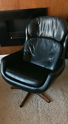 Vintage armchair Danish Mid Century style Black Faux Leather Swivel Teak Egg
