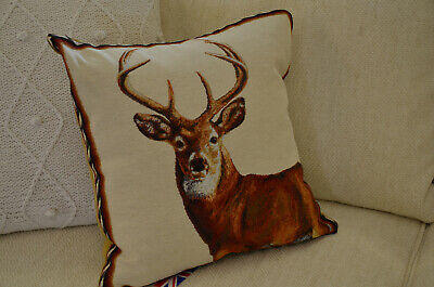 Pair of Stag Tapestry Cushions x2 With Fibre Filling Traditional Scottish Lodge