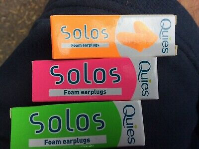 Quies Solos Foam Earplugs choice of colours x 5 pairs