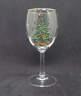 Spode Christmas Tree Glass Water Wine Goblets Made in England 12 oz.